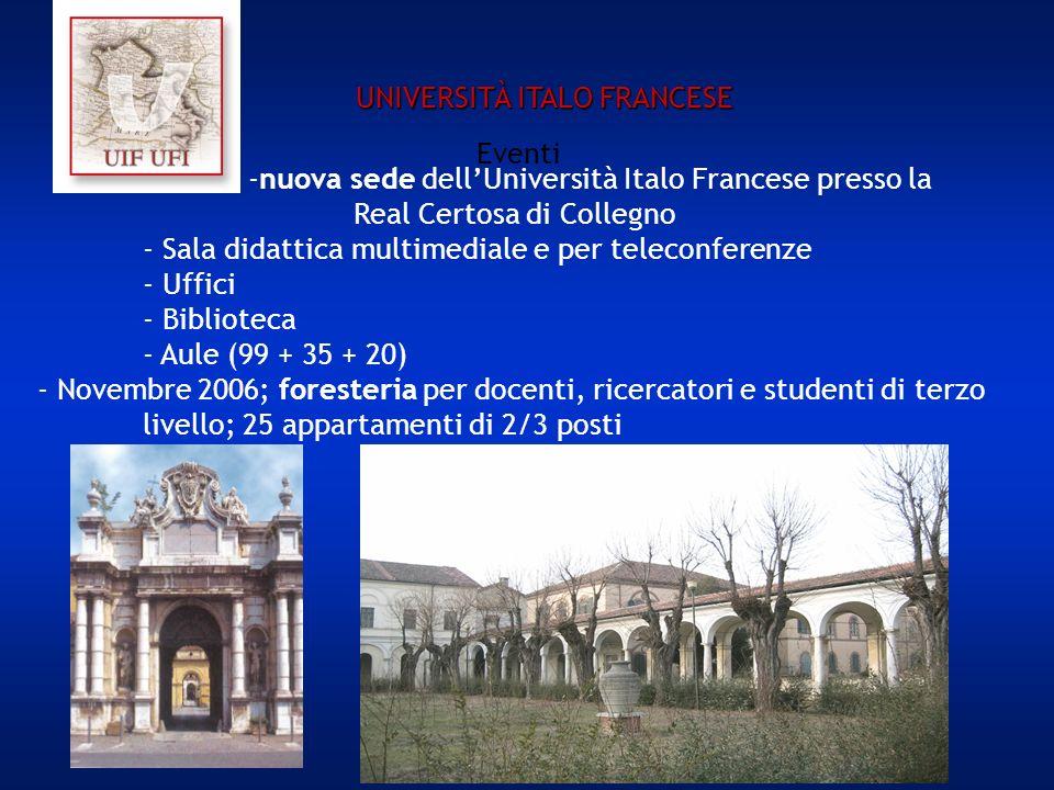 Eventi -nuova sede dellUniversità Italo Francese presso la Real Certosa di Collegno - Sala didattica multimediale e per teleconferenze - Uffici - Biblioteca - Aule (99 + 35 + 20) - Novembre 2006; foresteria per docenti, ricercatori e studenti di terzo livello; 25 appartamenti di 2/3 posti