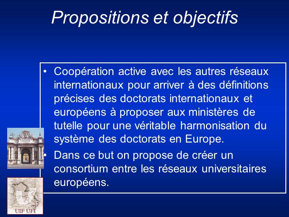 Propositions et objectifs Coopération active avec les autres réseaux internationaux pour arriver à des définitions précises des doctorats internationaux et européens à proposer aux ministères de tutelle pour une véritable harmonisation du système des doctorats en Europe.