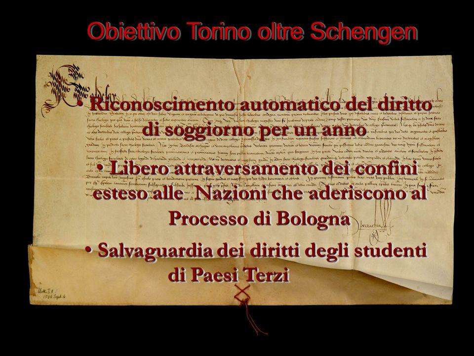 Obiettivo Torino oltre Schengen Riconoscimento automatico del diritto di soggiorno per un anno Riconoscimento automatico del diritto di soggiorno per un anno Libero attraversamento dei confini Libero attraversamento dei confini esteso alle Nazioni che aderiscono al esteso alle Nazioni che aderiscono al Processo di Bologna Processo di Bologna Libero attraversamento dei confini Libero attraversamento dei confini esteso alle Nazioni che aderiscono al esteso alle Nazioni che aderiscono al Processo di Bologna Processo di Bologna Salvaguardia dei diritti degli studenti Salvaguardia dei diritti degli studenti di Paesi Terzi di Paesi Terzi Salvaguardia dei diritti degli studenti Salvaguardia dei diritti degli studenti di Paesi Terzi di Paesi Terzi