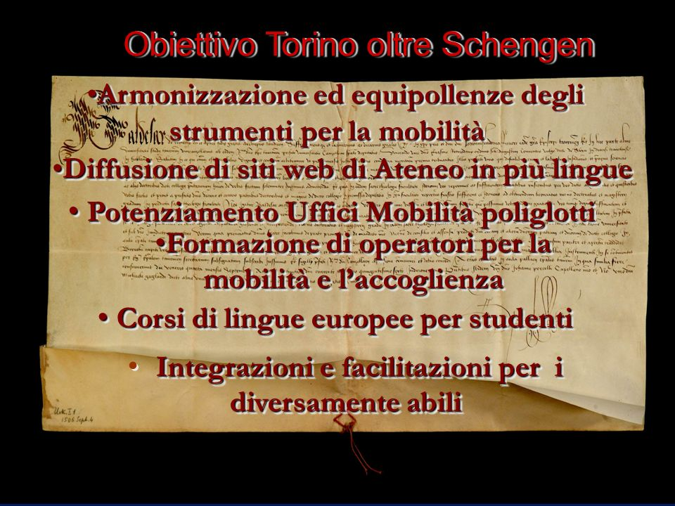 Obiettivo Torino oltre Schengen Diffusione di siti web di Ateneo in più lingueDiffusione di siti web di Ateneo in più lingue Potenziamento Uffici Mobi