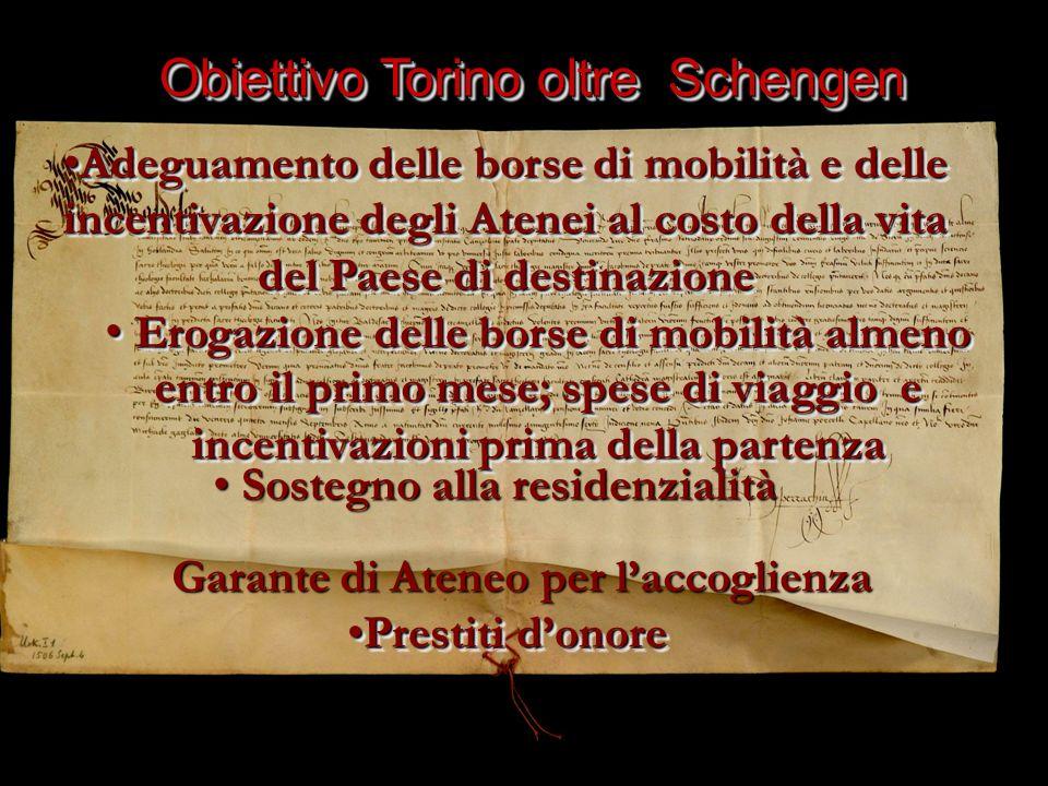 Obiettivo Torino oltre Schengen Erogazione delle borse di mobilità almeno Erogazione delle borse di mobilità almeno entro il primo mese; spese di viag