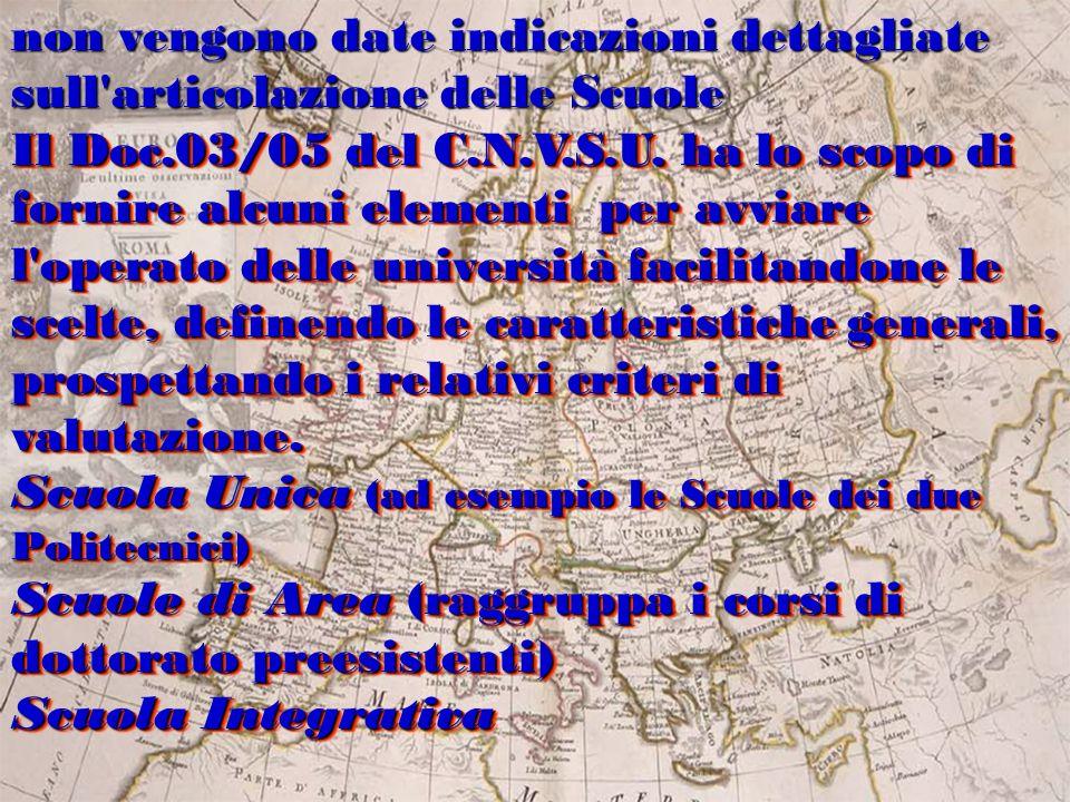 Il Doc.03/05 del C.N.V.S.U. ha lo scopo di fornire alcuni elementi per avviare l'operato delle università facilitandone le scelte, definendo le caratt