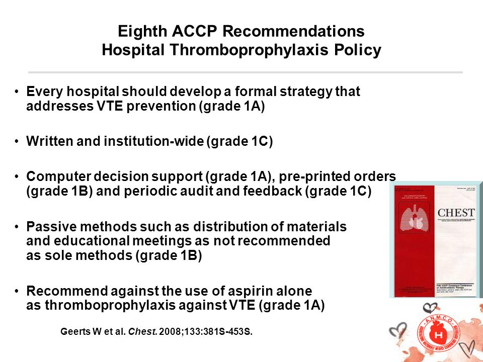Eighth ACCP Recommendations Hospital Thromboprophylaxis Policy Every hospital should develop a formal strategy that addresses VTE prevention (grade 1A