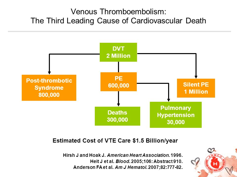 Silent PE 1 Million Deaths 300,000 Estimated Cost of VTE Care $1.5 Billion/year Venous Thromboembolism: The Third Leading Cause of Cardiovascular Deat
