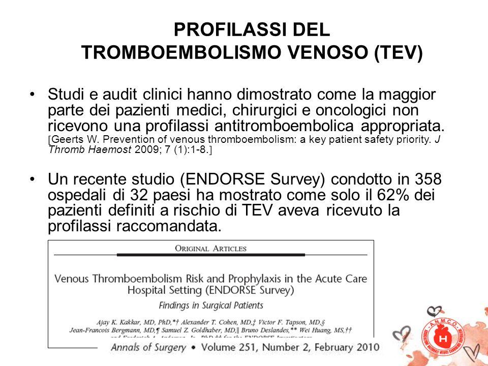 PROFILASSI DEL TROMBOEMBOLISMO VENOSO (TEV) Studi e audit clinici hanno dimostrato come la maggior parte dei pazienti medici, chirurgici e oncologici non ricevono una profilassi antitromboembolica appropriata.