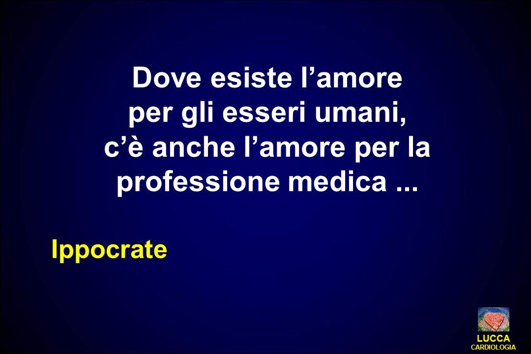Dove esiste lamore per gli esseri umani, cè anche lamore per la professione medica... Ippocrate LUCCA CARDIOLOGIA