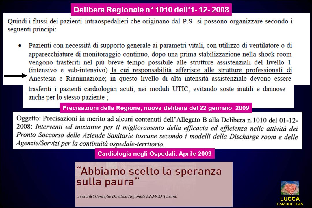 Delibera Regionale n° 1010 dell1- 12- 2008 Cardiologia negli Ospedali, Aprile 2009 Precisazioni della Regione, nuova delibera del 22 gennaio 2009 LUCC