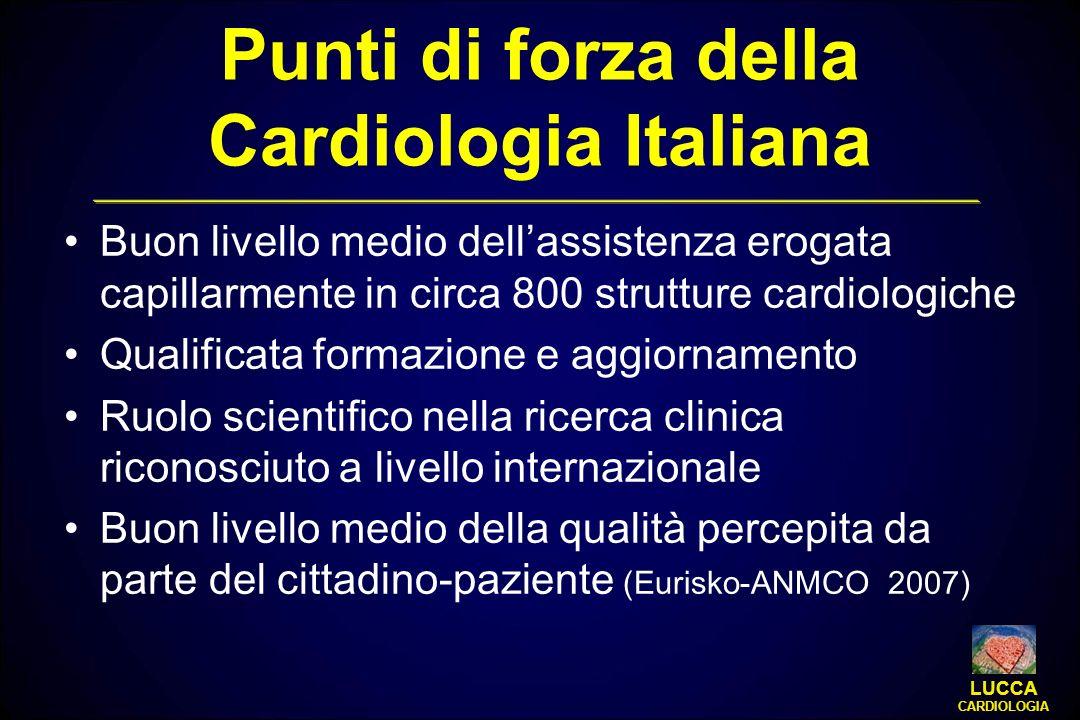 Punti di forza della Cardiologia Italiana Buon livello medio dellassistenza erogata capillarmente in circa 800 strutture cardiologiche Qualificata for