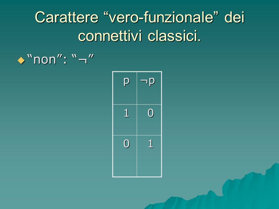 Logica classica A) I connettivi logici (e, o, non, se…allora…), sono vero-funzionali A) I connettivi logici (e, o, non, se…allora…), sono vero-funzionali B) Vale il principio di bivalenza: ogni enunciato assume uno e uno solo dei due valori vero (1) e falso (0) B) Vale il principio di bivalenza: ogni enunciato assume uno e uno solo dei due valori vero (1) e falso (0) C) Tra le leggi logiche principali, figurano i princìpi di: C) Tra le leggi logiche principali, figurano i princìpi di: non-contraddizione; terzo escluso.