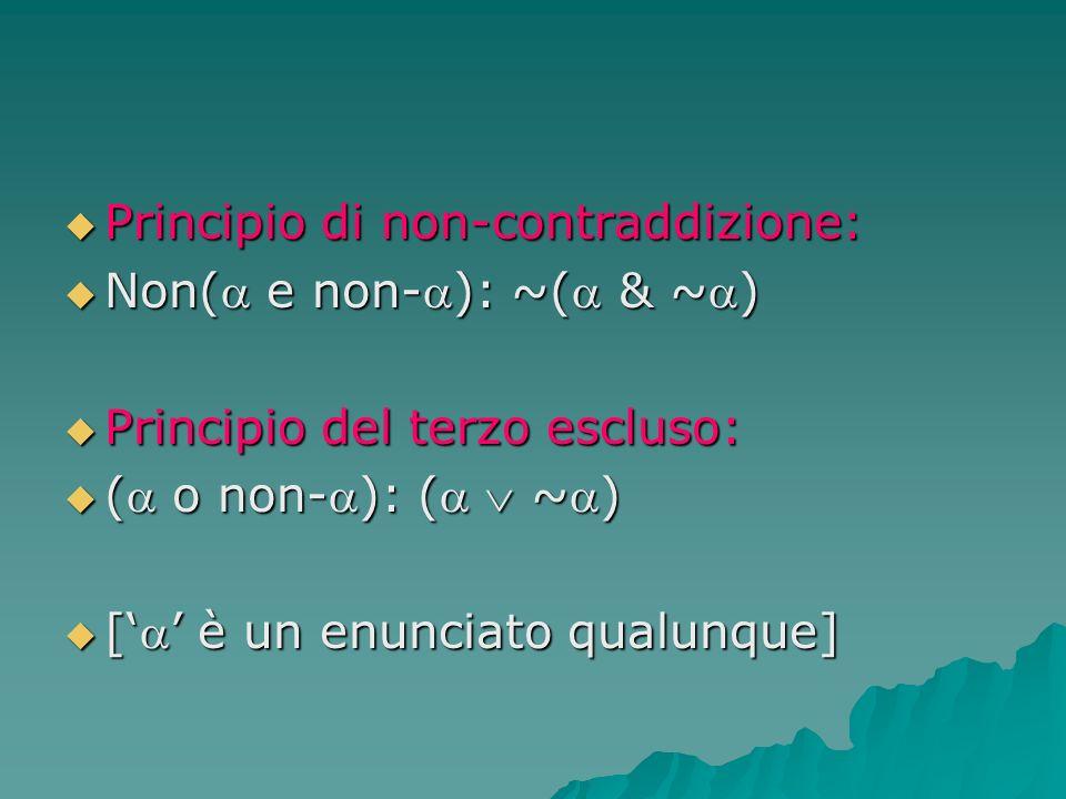 Principio di non-contraddizione: Principio di non-contraddizione: Non( e non-): ~( & ~) Non( e non-): ~( & ~) Principio del terzo escluso: Principio d