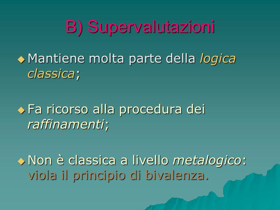B) Supervalutazioni Mantiene molta parte della logica classica; Mantiene molta parte della logica classica; Fa ricorso alla procedura dei raffinamenti