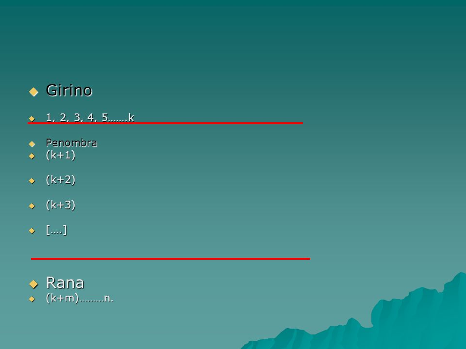 Girino Girino 1, 2, 3, 4, 5…….k 1, 2, 3, 4, 5…….k Penombra Penombra (k+1) (k+1) (k+2) (k+2) (k+3) (k+3) [….] [….] Rana Rana (k+m)………n. (k+m)………n.