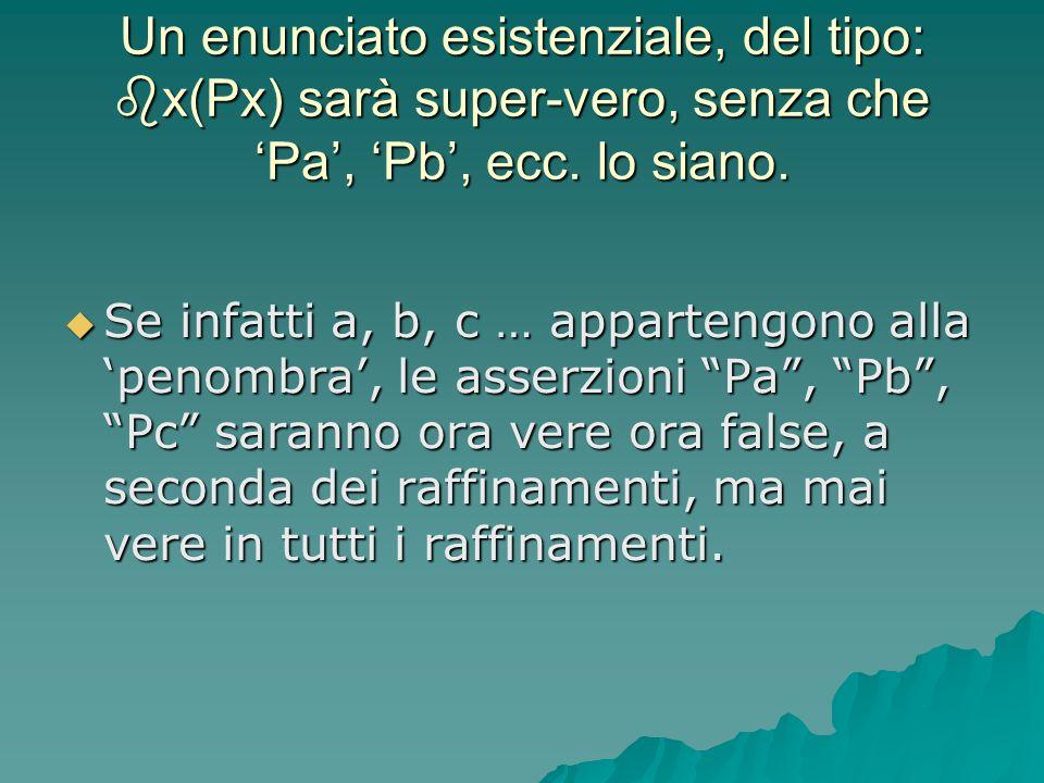 Un enunciato esistenziale, del tipo: x(Px) sarà super-vero, senza che Pa, Pb, ecc. lo siano. Se infatti a, b, c … appartengono alla penombra, le asser