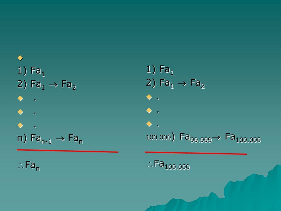 1) Fx 1 2) Per ogni i, Fx i Fx i+1 3) Fx n 3) Fx n