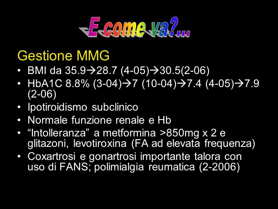 Gestione MMG BMI da 35.9 28.7 (4-05) 30.5(2-06) HbA1C 8.8% (3-04) 7 (10-04) 7.4 (4-05) 7.9 (2-06) Ipotiroidismo subclinico Normale funzione renale e H