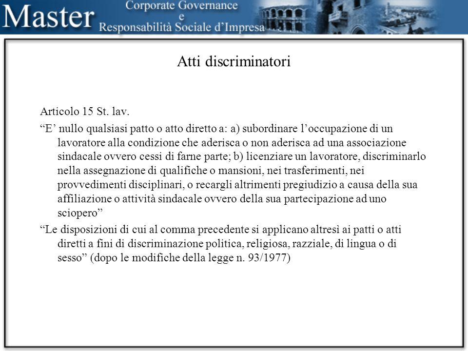 Atti discriminatori Articolo 15 St. lav.