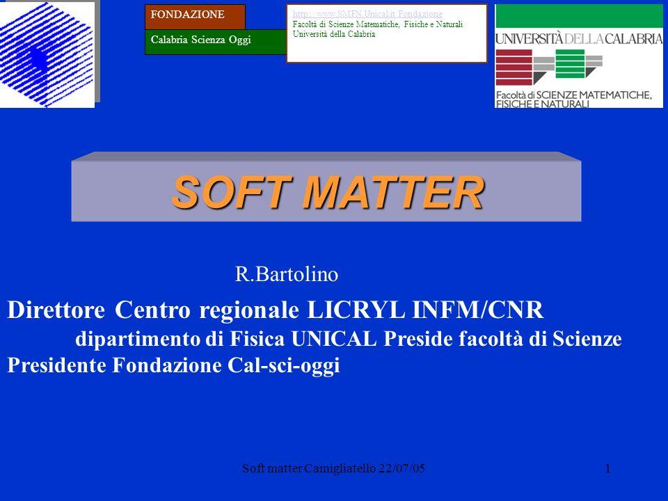 Soft matter Camigliatello 22/07/051 SOFT MATTER Direttore Centro regionale LICRYL INFM/CNR dipartimento di Fisica UNICAL Preside facoltà di Scienze Pr