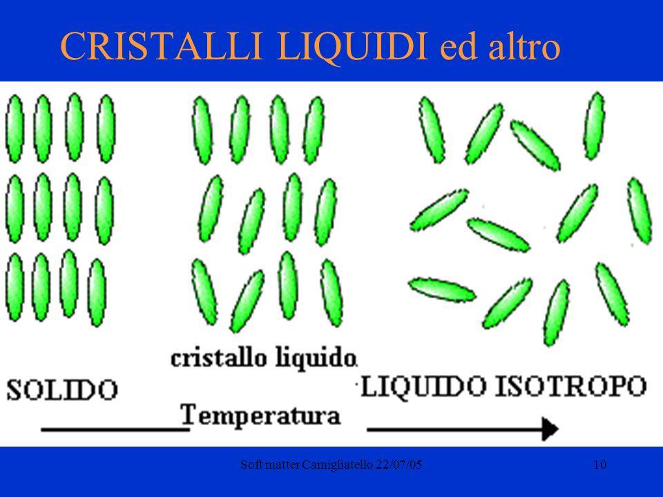 Soft matter Camigliatello 22/07/0510 CRISTALLI LIQUIDI ed altro