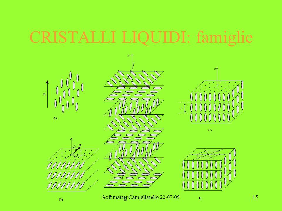 Soft matter Camigliatello 22/07/0515 CRISTALLI LIQUIDI: famiglie
