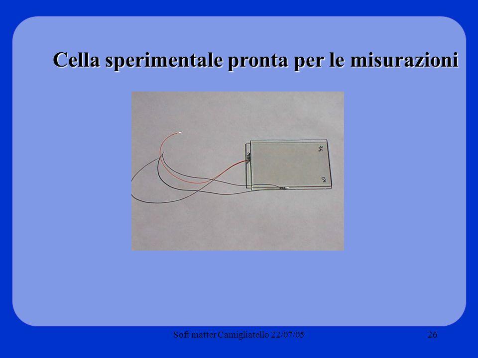 Soft matter Camigliatello 22/07/0526 Cella sperimentale pronta per le misurazioni