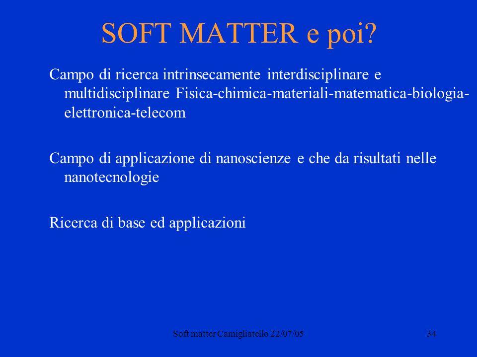 Soft matter Camigliatello 22/07/0534 SOFT MATTER e poi? Campo di ricerca intrinsecamente interdisciplinare e multidisciplinare Fisica-chimica-material