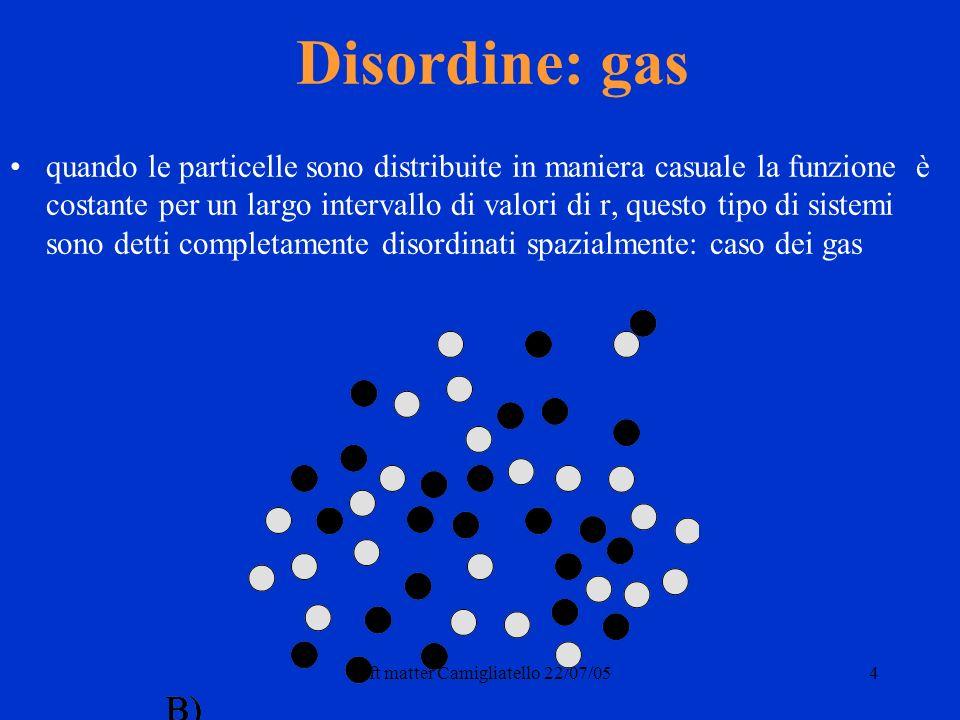 Soft matter Camigliatello 22/07/054 Disordine: gas quando le particelle sono distribuite in maniera casuale la funzione è costante per un largo intervallo di valori di r, questo tipo di sistemi sono detti completamente disordinati spazialmente: caso dei gas