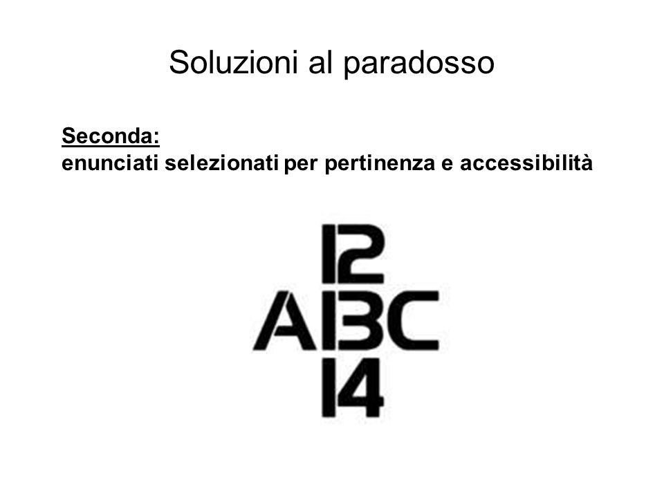 Soluzioni al paradosso Seconda: enunciati selezionati per pertinenza e accessibilità