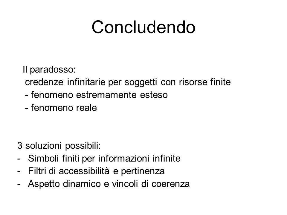 Concludendo Il paradosso: credenze infinitarie per soggetti con risorse finite - fenomeno estremamente esteso - fenomeno reale 3 soluzioni possibili: -Simboli finiti per informazioni infinite -Filtri di accessibilità e pertinenza -Aspetto dinamico e vincoli di coerenza