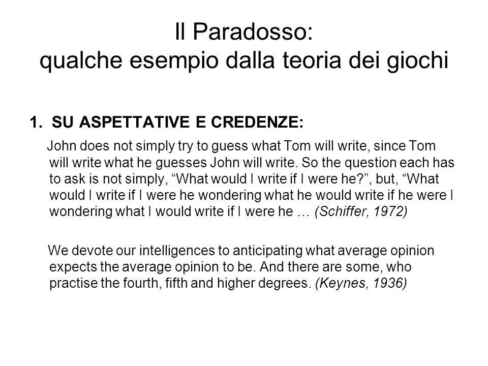 Il Paradosso: qualche esempio dalla teoria dei giochi 1.