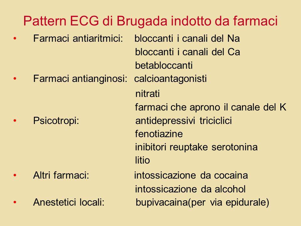 Pattern ECG di Brugada indotto da farmaci Farmaci antiaritmici: bloccanti i canali del Na bloccanti i canali del Ca betabloccanti Farmaci antianginosi