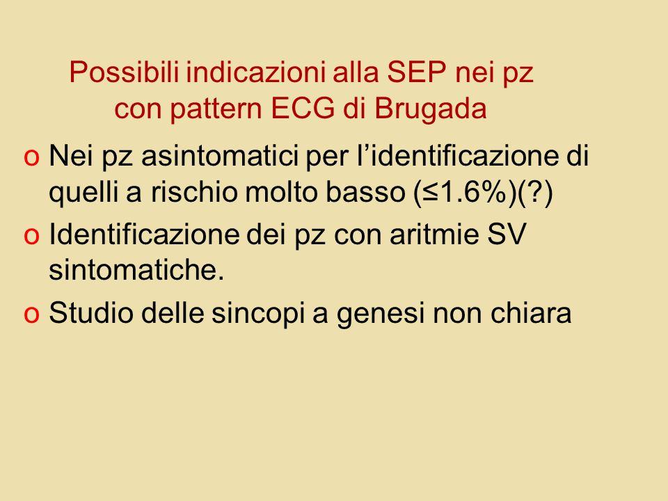 Possibili indicazioni alla SEP nei pz con pattern ECG di Brugada oNei pz asintomatici per lidentificazione di quelli a rischio molto basso (1.6%)(?) o