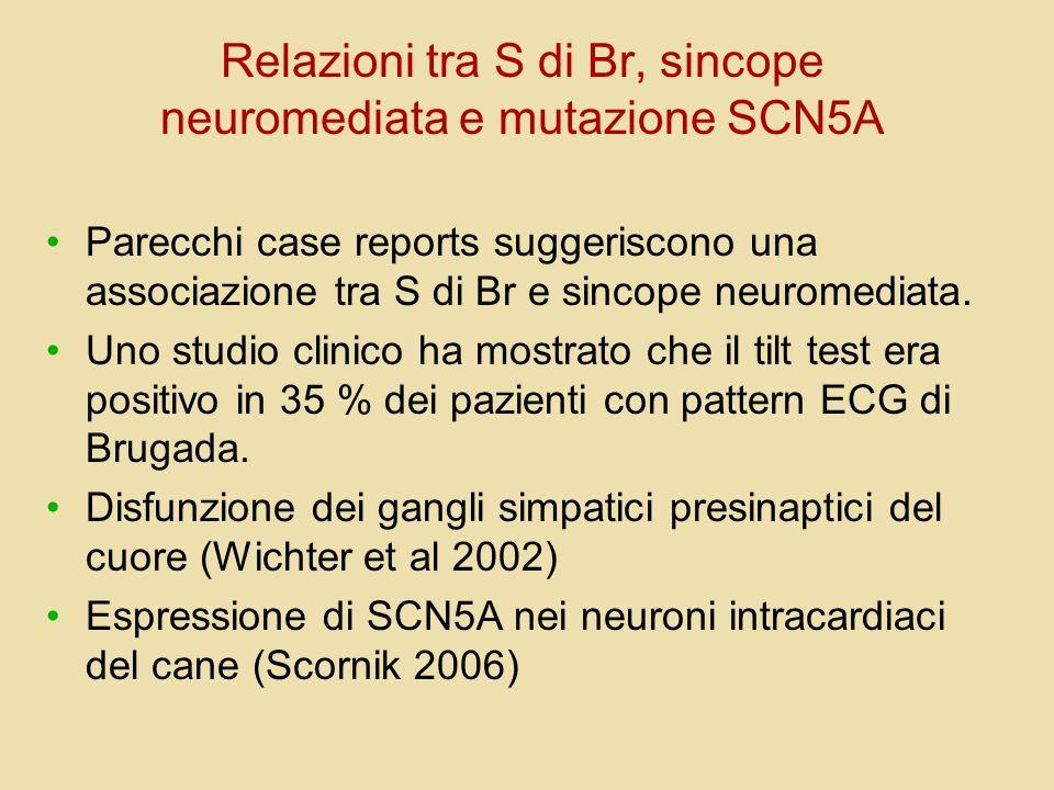 Relazioni tra S di Br, sincope neuromediata e mutazione SCN5A Parecchi case reports suggeriscono una associazione tra S di Br e sincope neuromediata.