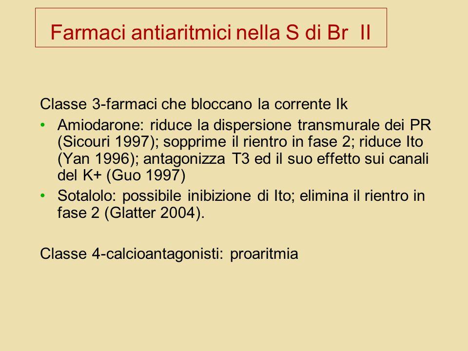 Farmaci antiaritmici nella S di Br II Classe 3-farmaci che bloccano la corrente Ik Amiodarone: riduce la dispersione transmurale dei PR (Sicouri 1997)