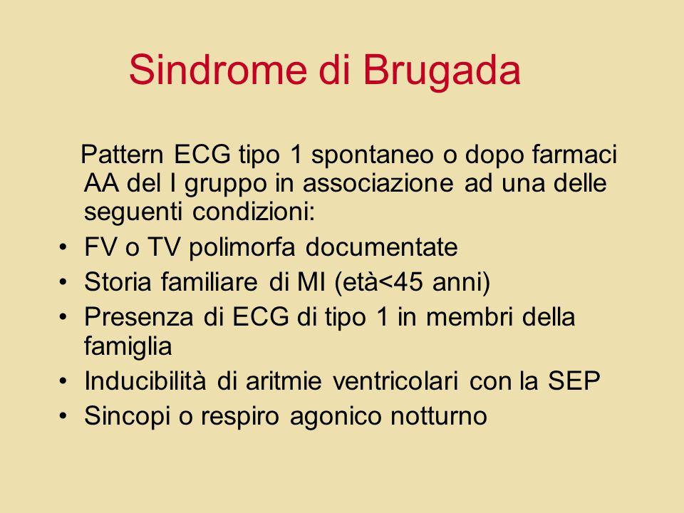Sindrome di Brugada Pattern ECG tipo 1 spontaneo o dopo farmaci AA del I gruppo in associazione ad una delle seguenti condizioni: FV o TV polimorfa do