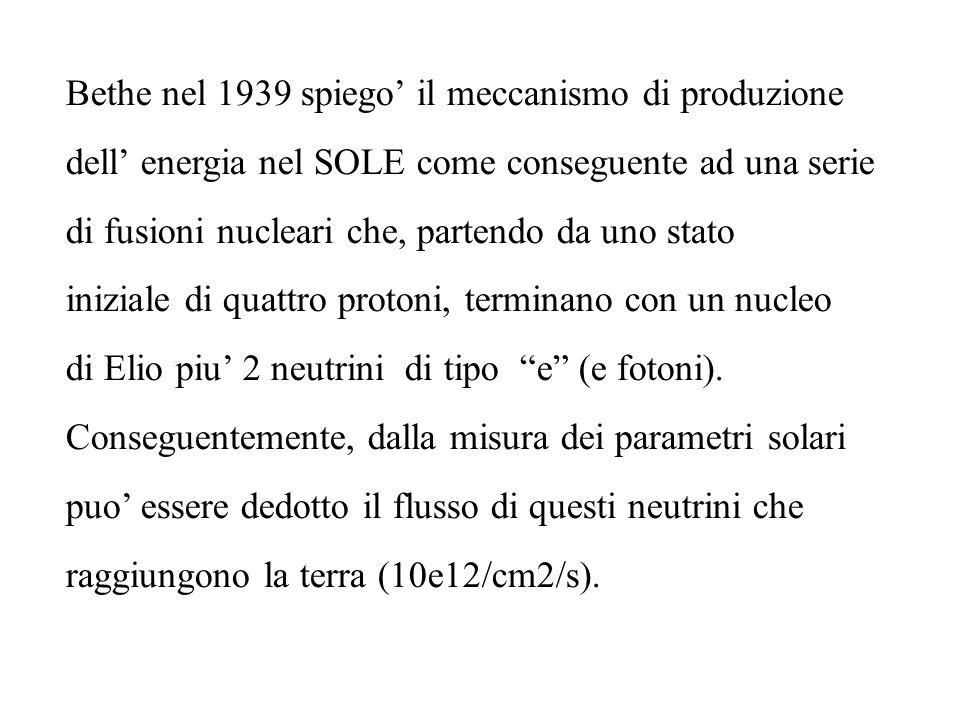 Bethe nel 1939 spiego il meccanismo di produzione dell energia nel SOLE come conseguente ad una serie di fusioni nucleari che, partendo da uno stato i