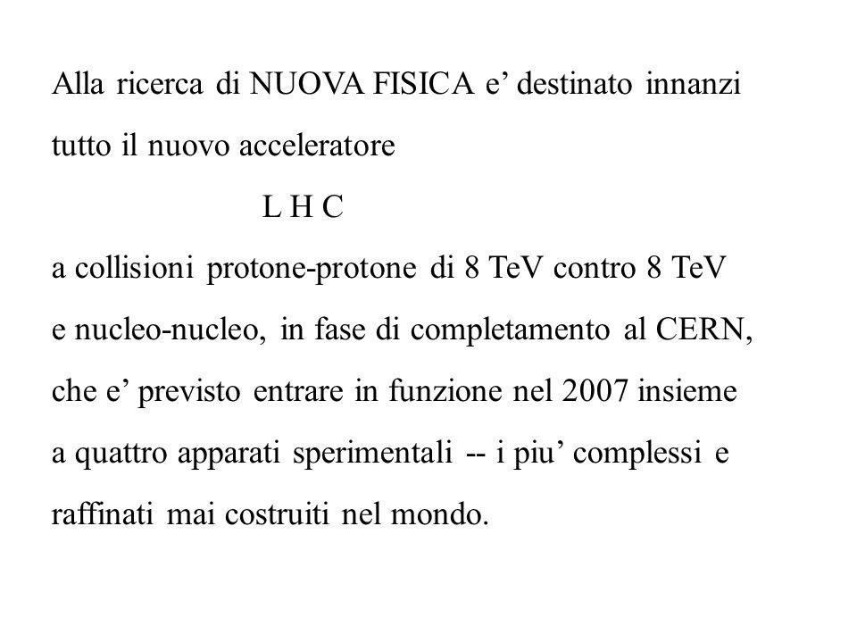 Alla ricerca di NUOVA FISICA e destinato innanzi tutto il nuovo acceleratore L H C a collisioni protone-protone di 8 TeV contro 8 TeV e nucleo-nucleo,