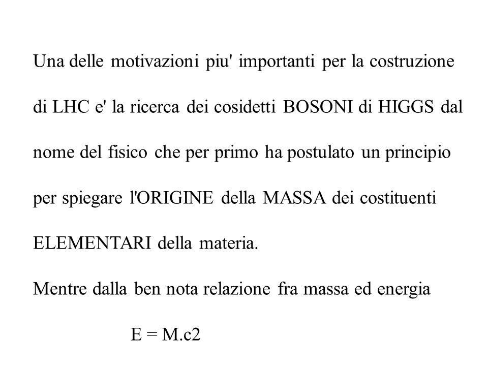 Una delle motivazioni piu' importanti per la costruzione di LHC e' la ricerca dei cosidetti BOSONI di HIGGS dal nome del fisico che per primo ha postu