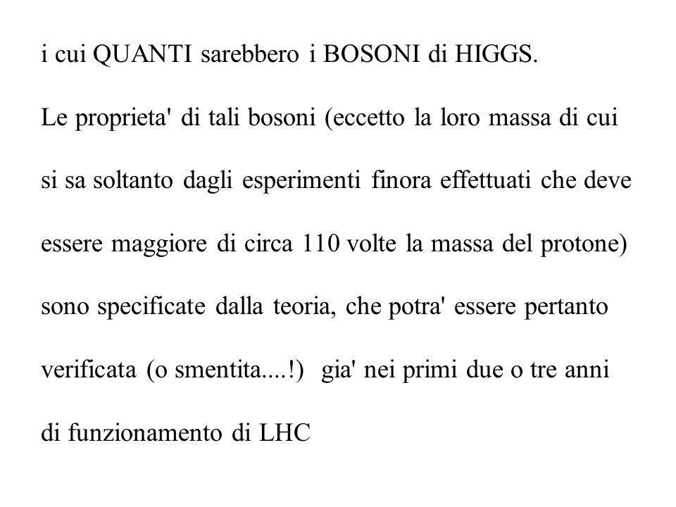 i cui QUANTI sarebbero i BOSONI di HIGGS. Le proprieta' di tali bosoni (eccetto la loro massa di cui si sa soltanto dagli esperimenti finora effettuat