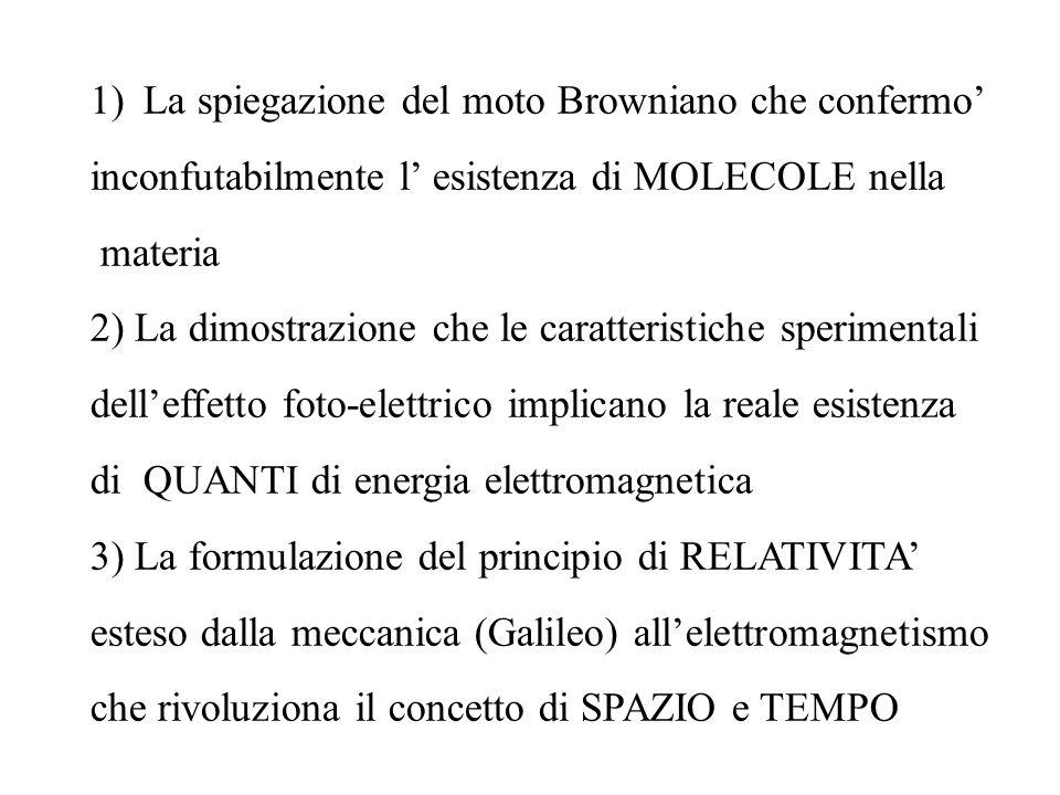 1)La spiegazione del moto Browniano che confermo inconfutabilmente l esistenza di MOLECOLE nella materia 2) La dimostrazione che le caratteristiche sp