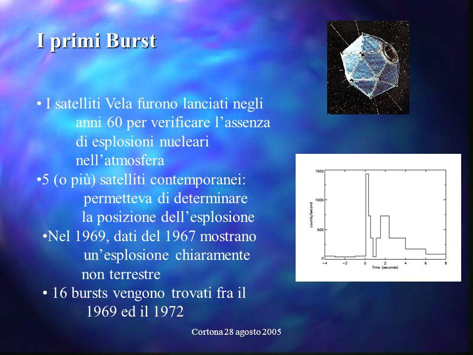 Cortona 28 agosto 2005 I primi Burst I satelliti Vela furono lanciati negli anni 60 per verificare lassenza di esplosioni nucleari nellatmosfera 5 (o