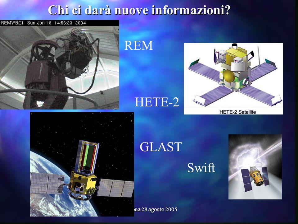 Cortona 28 agosto 2005 Chi ci darà nuove informazioni? HETE-2 GLAST Swift REM