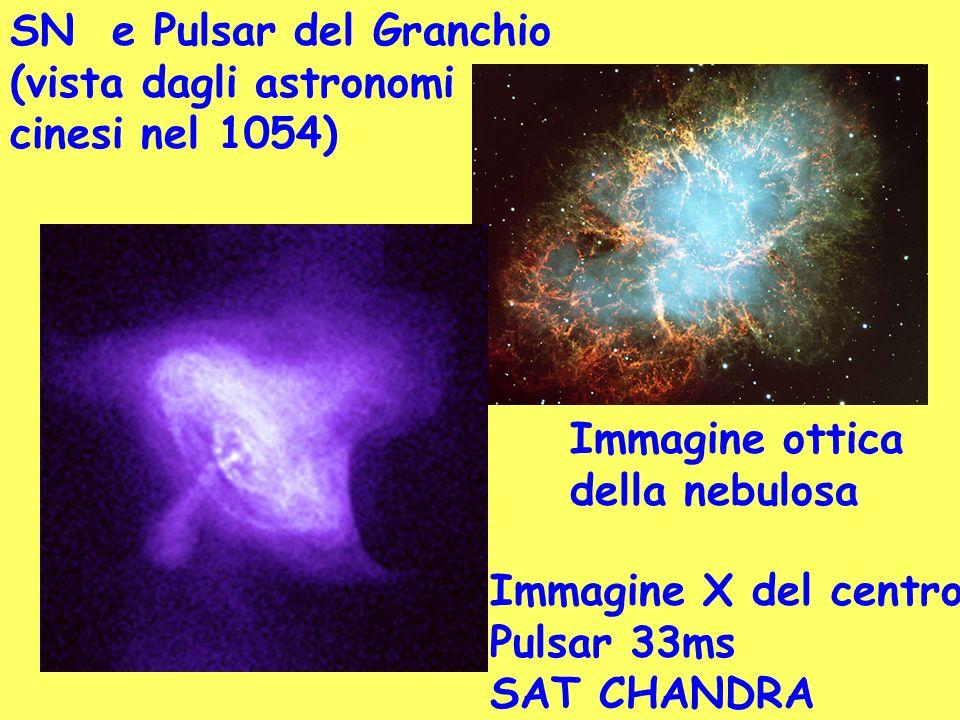 SN e Pulsar del Granchio (vista dagli astronomi cinesi nel 1054) Immagine ottica della nebulosa Immagine X del centro Pulsar 33ms SAT CHANDRA