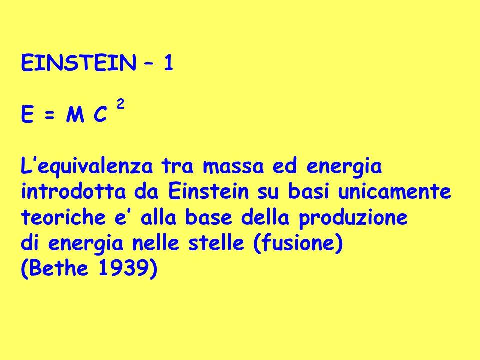 EINSTEIN – 1 E = M C 2 Lequivalenza tra massa ed energia introdotta da Einstein su basi unicamente teoriche e alla base della produzione di energia ne
