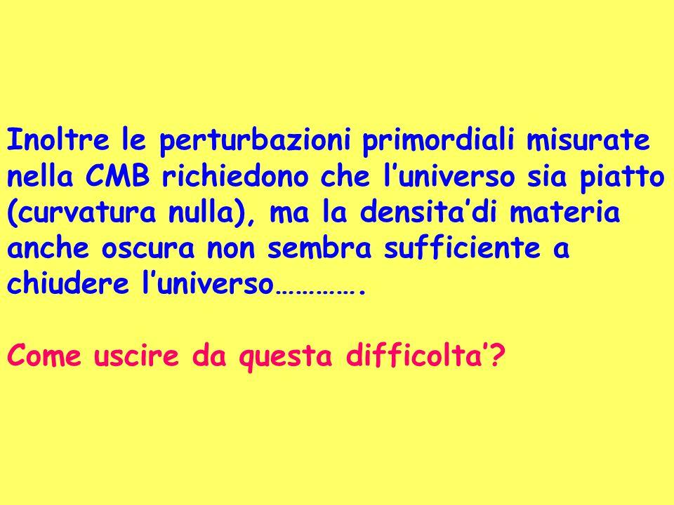 Inoltre le perturbazioni primordiali misurate nella CMB richiedono che luniverso sia piatto (curvatura nulla), ma la densitadi materia anche oscura no