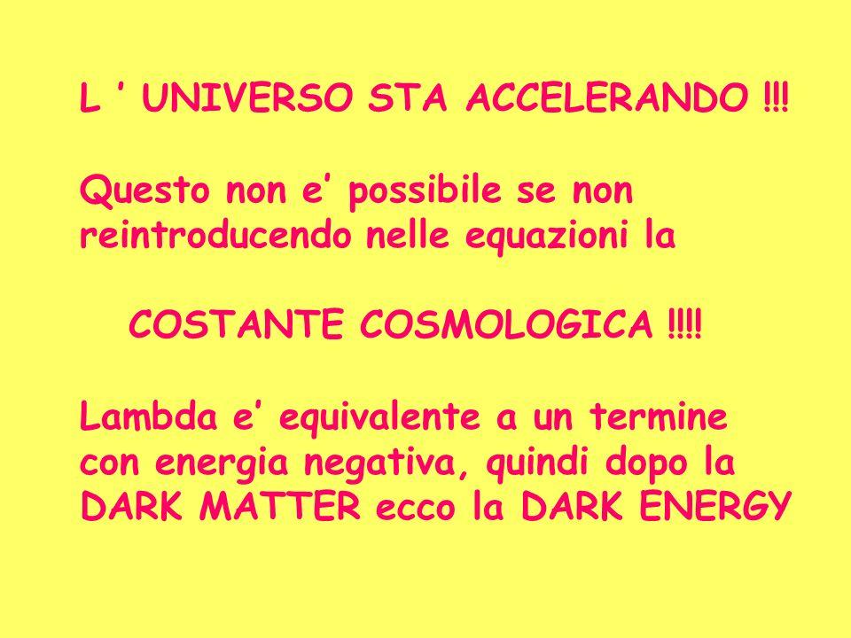 L UNIVERSO STA ACCELERANDO !!! Questo non e possibile se non reintroducendo nelle equazioni la COSTANTE COSMOLOGICA !!!! Lambda e equivalente a un ter
