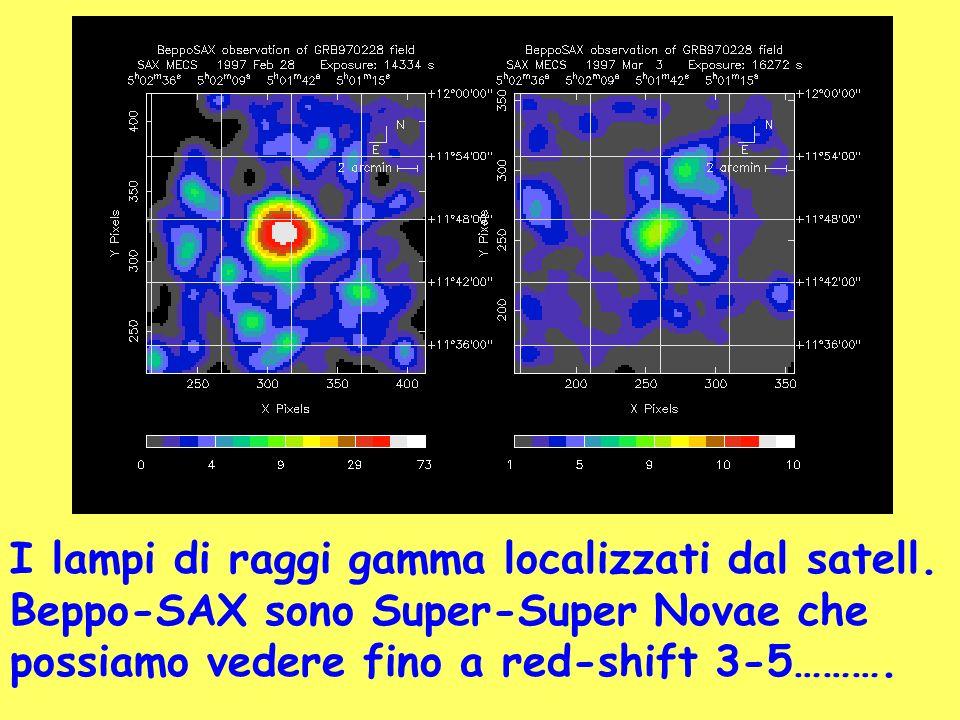 I lampi di raggi gamma localizzati dal satell. Beppo-SAX sono Super-Super Novae che possiamo vedere fino a red-shift 3-5……….