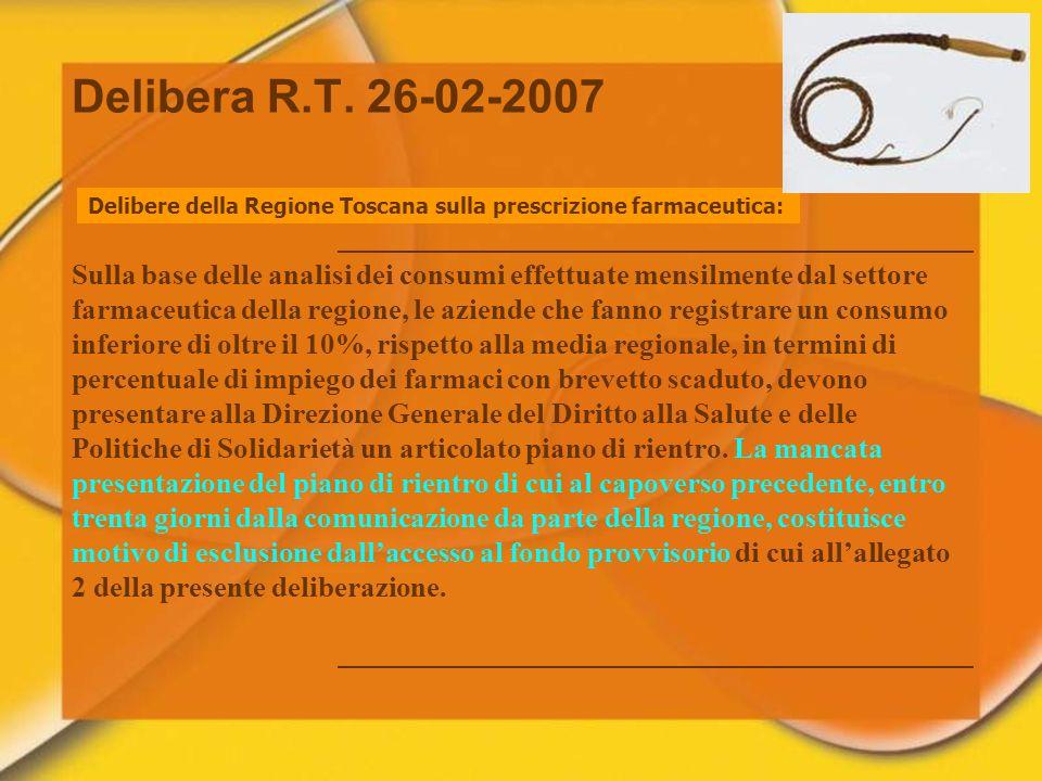Delibere della Regione Toscana sulla prescrizione farmaceutica: Sulla base delle analisi dei consumi effettuate mensilmente dal settore farmaceutica d
