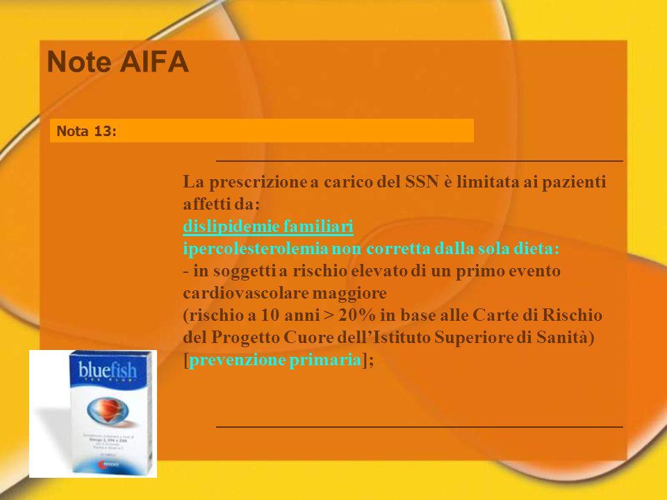 Note AIFA Nota 13: La prescrizione a carico del SSN è limitata ai pazienti affetti da: dislipidemie familiari ipercolesterolemia non corretta dalla so