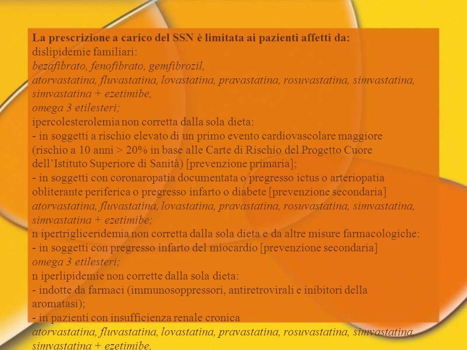 La prescrizione a carico del SSN è limitata ai pazienti affetti da: dislipidemie familiari: bezafibrato, fenofibrato, gemfibrozil, atorvastatina, fluv