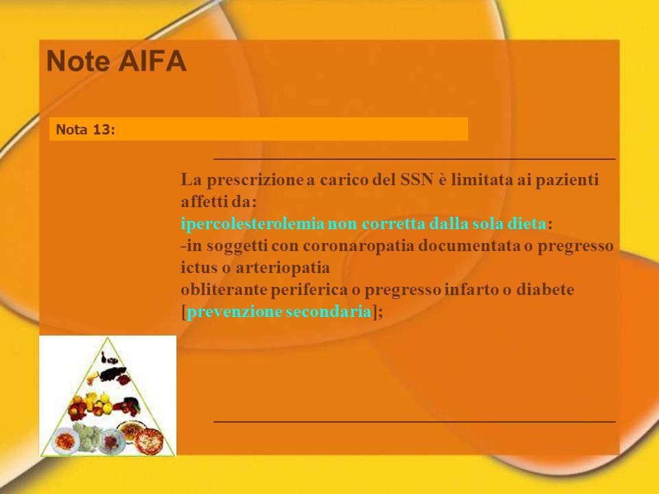 Note AIFA Nota 13: La prescrizione a carico del SSN è limitata ai pazienti affetti da: ipercolesterolemia non corretta dalla sola dieta: -in soggetti